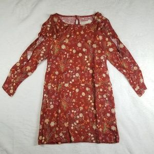 Zara Burgundy Floral Dress Girl Size 6